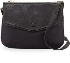 Neiman Marcus Marni Fold-Over Nylon Crossbody Bag, Black