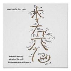 Reiki Hon Sha Ze Sho Nen Symbol Tracing Chart Poster