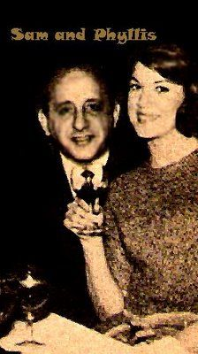 Chicago mobster Sam Giancana and girlfriend Phyllis McGuire of the famous singing group the McGuire Sisters. Ever mistrustful, Giancana hired ex FBI & CIA resource Bob Maheu to spy on her and other women, including JFK's mistress Judith Campbell. www.lberger.ca