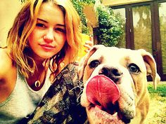 Miley Cyrus with her doggy