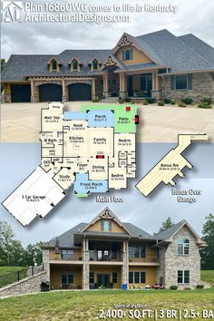 Our client built Architectural Designs Country Craftsman House Plan 16860WG on their sloping lot in Kentucky! This stunning home plan has 2,400  Sq. Ft. - 3 Bedrooms - 2.5 Baths  Tap the link to see more photos, details, and full size floor plans on our website!