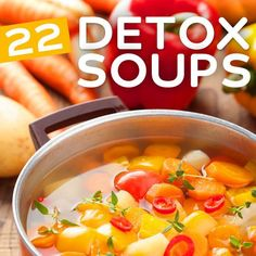 22 Detox Soup Recipes- to cleanse and revitalize your system. A detox soup takes many of the healthiest ingredients possible and puts them together in one pot. Detox Recipes, Soup Recipes, Cooking Recipes, Healthy Snacks, Healthy Eating, Healthy Recipes, Healthy Soups, Stay Healthy, Healthy Detox