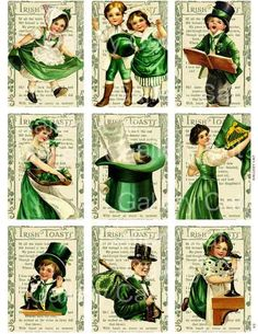 Vintage St Patrick's Day  Digital Collage Sheet  Print It Yourself Paper Crafts Original Whimsical Altered Art by Gallery Cat CS3. $3.50, via Etsy.