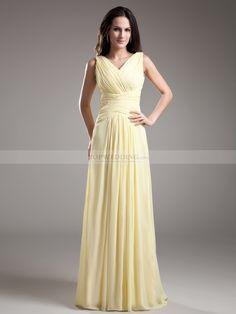 Simple Sleeveless V Neck Ruched Chiffon Floor Length Bridesmaid Dress