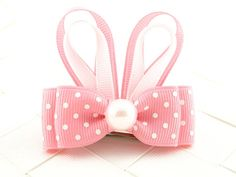 Pink Easter Bunny Hair Bow Sculptures / Sculpted Ribbon Hair Bows / Hair Bows for Girls / Bunny Ears / Toddler Hair Bows / Easter Hair Bow on Etsy, $3.50
