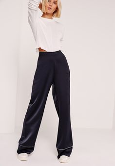 Missguided - Premium Satin Piped Detail Trousers Navy