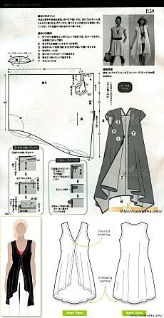 Mod@ En line I don't need to be able to translate the instructions because this is a fairly easy pattern.japanese instructions - but good graphics - easy long vest - cute!Scan from Japanese sewing bookI want to remove the sleeves use a heavy material Sewing Patterns Free, Free Sewing, Clothing Patterns, Dress Patterns, Sewing Kit, Sewing Hacks, Sewing Tutorials, Sewing Projects, Pattern Cutting
