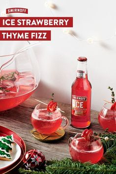Turn up to the Holiday party with this Christmas cocktail recipe made with Smirnoff ICE Strawberry. It's a delicious festive drink that keeps on giving and giving all Christmas long. Smirnoff ICE Strawberry Thyme Fizz Recipe (Serves 4 bottles of S Party Drinks, Cocktail Drinks, Fun Drinks, Yummy Drinks, Cocktail Recipes, Alcoholic Drinks, Christmas Cocktails, Holiday Cocktails, Tamarindo