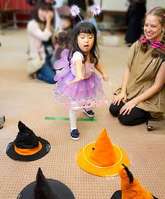 witch hat ring toss; Halloween party preschool