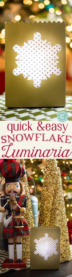 DIY snowflake luminarias made with Cricut Explore -- Sweet C's Designs. #DesignSpaceStar Round 5