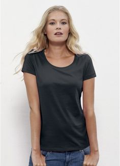 Sofia organic cotton and fair trade classic cut ladies' tee in black. Made in Bangladesh/Turkey. 120GSM #fairtradeclothing #organiccottonclothing #ethicalclothing