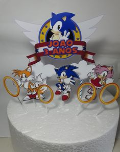 topo de bolo do sonic Bolo Sonic, Birthday Candles, Sonic Birthday Parties, Cake Ideas, Decorating Cakes, Kids Part, Creativity, Rice Paper, Meals