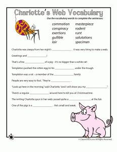 Vocabulary Sentences Worksheet for Charlotte's Web