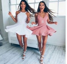 Cute A line Skater Dress,2017 New Arrival White/Pink Homecoming Dress for Teens,Pretty Graduation Dresses