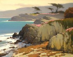 Coast Along Perkins Park, Pacific Grove by Brian Blood Oil ~ 16 x 20