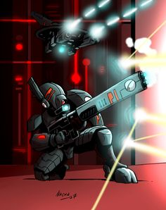 """Tau by Ritualist Artist's comment """" Inks by nachomon (check out the gallery-great WH40K art) Colors by me. Marines might be a bunch of thugs with massive guns, but Tau have force-fields, drones and..."""