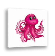 Octopus Wall Decor Nursery Wall Art Ocean Kids Bathroom Decor Under the Sea Nursery Pink Octopus Bathroom Decor Children Art Canvas Print