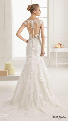 rosa clara two spring 2016 cap sleeves illusion boat sweetheart neckline embellished bodice elegant trumpet lace wedding dress lace back sweep train eysa bv