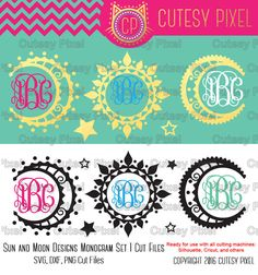 Sun and Moon Designs Monogram Frames set 1  Please have a look at my other art! https://www.etsy.com/shop/CutesyPixel  This is Digital artwork ready for immediate download and ready to be use on such software as Cricut Design Space, Silhouette Studio and other cutting software. The high quality files will cut cleanly and smoothly since they are professionally digitized instead of auto-traced.  ----------------------- ★★ Package Included ★★-----------------------------------  - 11 separate…