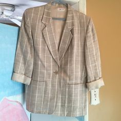 Jacket Linen muted plaid earth tones Talbots Jackets & Coats Blazers