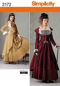 Simplicity Pattern 2172 Steampunk Victorian TARDIS Dr. Who Dress Costume 4-22