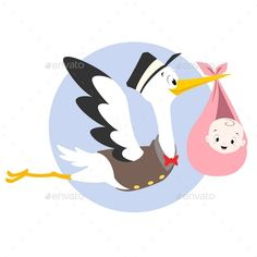 Buy Stork Baby by mumut on GraphicRiver. Vector cartoon illustration of a stork carrying baby Baby Stork, Stork Baby Showers, Baby Shower Fun, Storch Baby, Bebe Vector, Funny Happy Birthday Wishes, Baby Illustration, Baby Drawing, Cross Stitch Alphabet