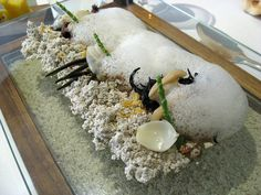 """""""SOUND OF THE SEA"""" - A famous meal from Heston Blumenthal, London Chef. You listen to sea sounds while eating this meal. Great experience!"""