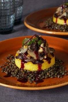 Pure Vegan - Polenta with Wild Mushrooms, Hazelnuts, and Figs
