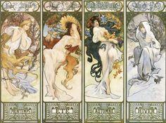 Art Nouveau Tarot | Alphonse Mucha - Les quatre saisons