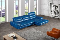 Divani Casa Hobart Modern Blue Leather Sectional Sofa - VGZIWA-S105-BLUEProduct : 70530Features :Upholstered In Full Genuine LeatherColor: Blue L314Right Facing ChaiseWhite StitchingAdjustable HeadrestsStainless Steel LegsDimensions :RAF Chaise: W66