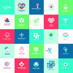 Creative medical and healthcare logos vector set 04