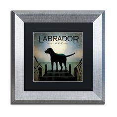 Moonrise Black Dog Labrador Lake by Ryan Fowler Framed Graphic Art