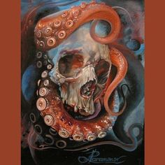 Octopus tattoo is a favorite marine life tattoo design for both women and men. Today, the octopus tattoo is a favorite decorative tattoo. Not only con. Octopus Tattoo Design, Octopus Tattoos, Octopus Art, Fantasy Kunst, Fantasy Art, Painting Inspiration, Art Inspo, Skull Painting, Octopus Painting