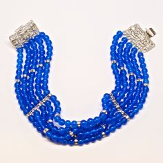 "Unsigned 1950's Beaded Bracelet with Crystal Detail Clasp   7.5"" length.  #mdvii #1950s #blue #bracelet #catalog"