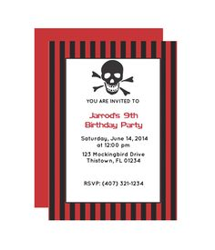 Free Pirate Printable Party Invitation from Pirate Party Invitations, Free Printable Party Invitations, Make Your Own Invitations, Party Printables, Free Printables, 9th Birthday Parties, Birthday Fun, Birthday Ideas, Got Party