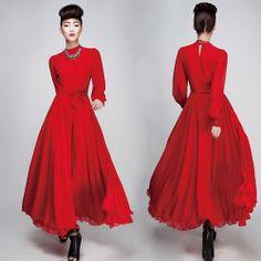 2013 Новый Осень Зима Полные насыщенный Красный длинное платье Тонкий Vintage Женщины шифон платья A2015 US $29.99