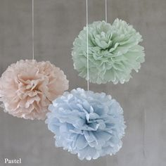 3 assorted sized tissue paper pom poms in pastel colours. Selection contains: 1 x pink, 1 x ivory and 1 x pale mint green pom pom all Pastel Mint, Pretty Pastel, Pastel Colors, 21st Decorations, Reception Table Decorations, Paper Decorations, Baby Blue Weddings, Paper Pom Poms, Tissue Paper