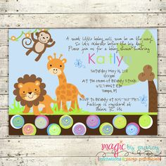 Nice Safari Themed Baby Shower Invitations
