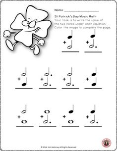 Music worksheet! St Patrick's Day Music Math FREE download! ♫ CLICK through to download your copy or save for later! ♫