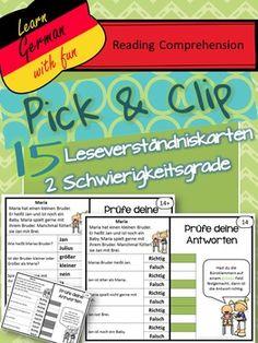 Pick & Flip- German Reading Comprehension- 15 deutsche Lesen  Deutsch lesen lernen, Texte verstehen und Fragen beantworten. Ansprechende Karten zum Üben.