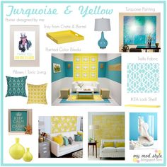 Design Board For Chrissy 2 Turquoise And Yellow Color Schemes