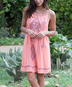 Coral Tribal Embroidered Silk-Blend Shift Dress by Pinkblush #zulily #zulilyfinds