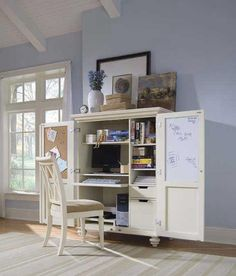 Home office cabinets are versatile and beautiful solutions for small home office designs. There are many home office designs that are functional, comfortable and attractive, but home office in a cabinet is space saving idea that is great for contemporary interior design or relaxing cottage decor.