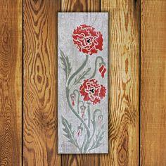 Custom made Portfolio Series Tile Tile. Vertical x Poppy Tile is Made in Canada and comes with a Lifetime Warranty. Garden Art, Flower Tile, Color Me, Commercial Flooring, Barn Wood, Original Work, Tile Art, Reclaimed Barn Wood