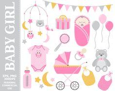 70% OFF SALE Digital Baby Girl Clip Art - Girl, Pink, Baby, Stroller, Baby Shower, Baby Born Clip Art #thecreativemill
