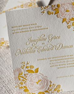 Peonies letterpress or digital wedding invitation from Umi by Elum 2 - available in letterpress of digital printing. Customize yours with Paper Passionista.