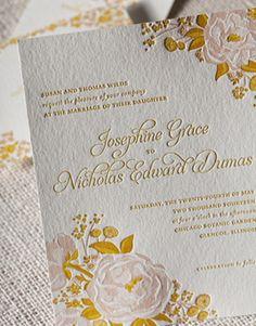 Affordable Letterpress Wedding Invitations Peonies