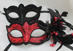 Black & Red Pair of Male and Female Couples Masquerade Masks