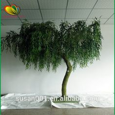 Artificial Weeping Willow with 8 Branches for DIY Home Garden Décor Yellow