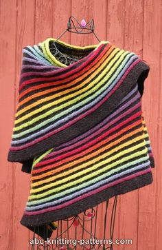 ABC Knitting Patterns - Rainbow Striped Shawl.clever way to make variegated wool go further.